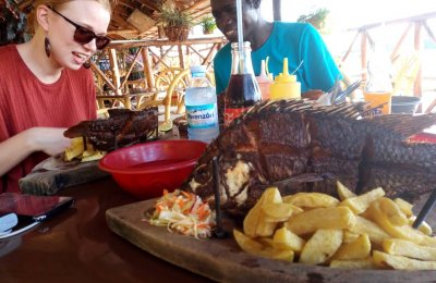 Fish and chips in Jinja